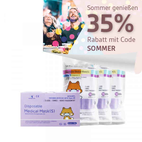 YINHONYUHE ® Disposable Medical Mask für kleine Gesichter z.B Kinder lila