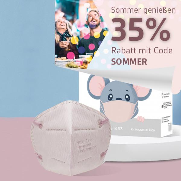 YUXI ® Filtering Half Mask FFP2 NR S für kleine Gesichter z.B Kinder *pink