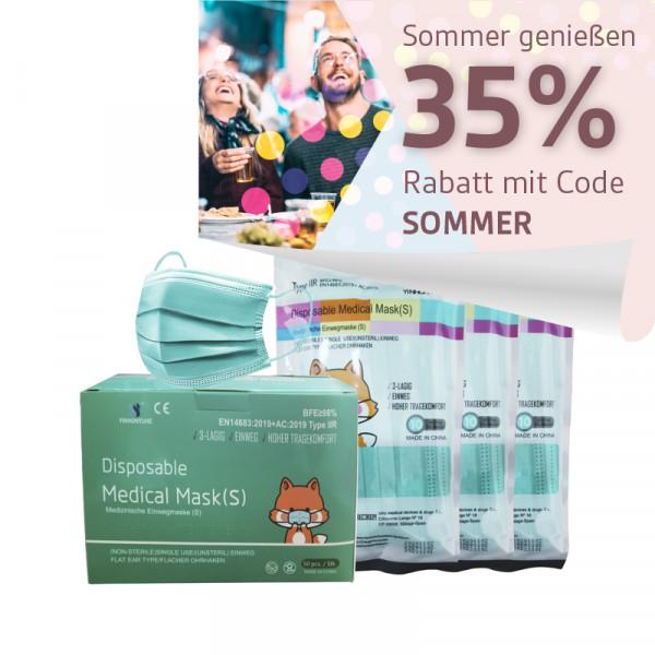YINHONYUHE ® Disposable Medical Maskfür kleine Gesichter z.B Kinder grün